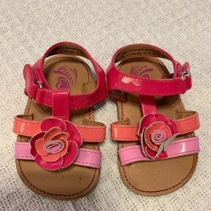 children's place pink and orange 6-12M sandals
